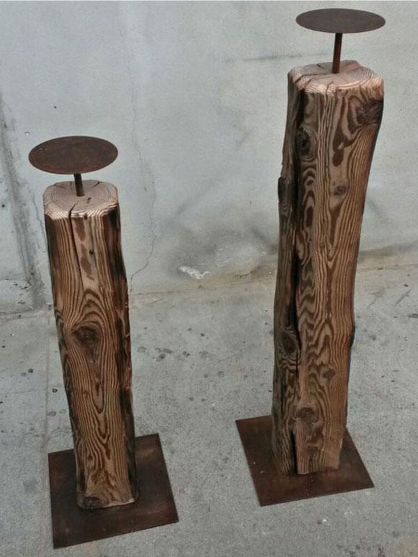 Portacandele in legno antico